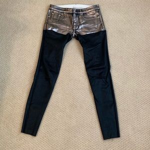 Denim - R13 Metallic and Leather Chap Jeans